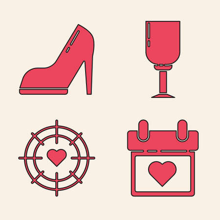 Set Calendar with heart, Woman shoe with high heel, Wine glass and Heart in the center of darts target aim icon. Vector.