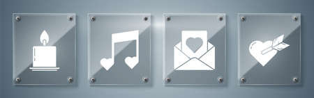 Set Amour with heart and arrow, Envelope with heart, Music note, tone with hearts and Burning candle. Square glass panels. Vector.
