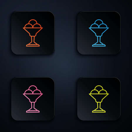 Color neon line Ice cream in the bowl icon isolated on black background. Sweet symbol. Set icons in square buttons. Vector.