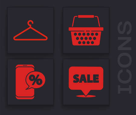 Set Hanging sign with Sale, Hanger wardrobe, Shopping basket and Percent discount and phone icon. Vector.