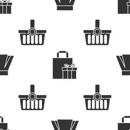 Set Skirt, Gift box and Shopping basket on seamless pattern. Vector.
