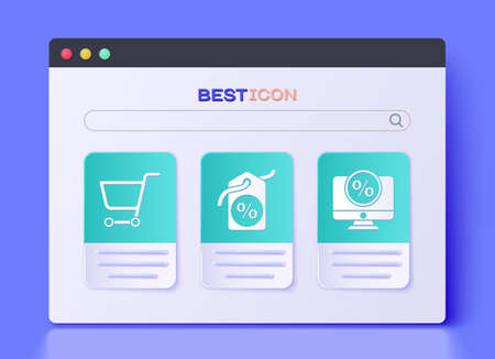 Set Discount percent tag, Shopping cart and Percent discount and monitor icon. Vector. Vettoriali