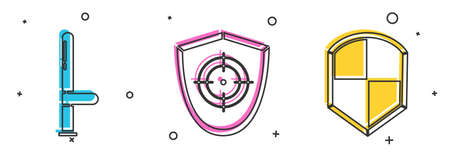 Set Police rubber baton, Target sport and Shield icon. Vector.