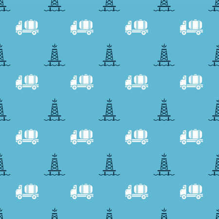 Set Oil rig with fire and Tanker truck on seamless pattern. Vector.