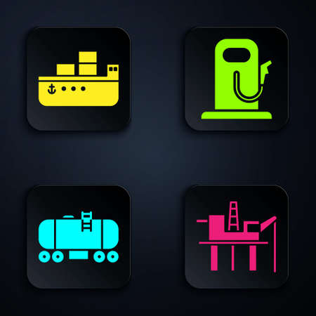 Set Oil platform in the sea, Oil tanker ship, Oil railway cistern and Petrol or gas station. Black square button. Vector.