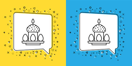 Set line Easter cake and eggs icon isolated on yellow and blue background. Happy Easter. Vector Illustration.