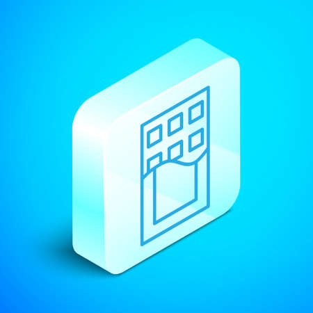 Isometric line Chocolate bar icon isolated on blue background. Silver square button. Vector. Ilustração