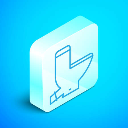 Isometric line Toilet bowl icon isolated on blue background. Silver square button. Vector Illustration.