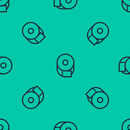 Blue line Toilet paper roll icon isolated seamless pattern on green background. Vector Illustration. Stock Illustratie