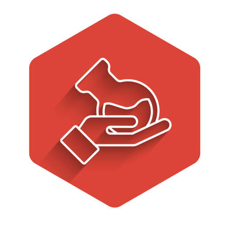 White line Test tube and flask in hand icon isolated with long shadow. Chemical laboratory test. Laboratory glassware. Red hexagon button. Vector.