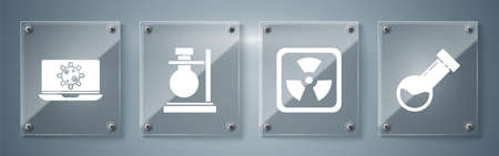 Set Test tube and flask chemical, Radioactive, Test tube flask on stand and Bacteria on laptop. Square glass panels. Vector.