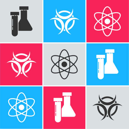 Set Test tube and flask chemical, Biohazard symbol and Atom icon. Vector. 일러스트