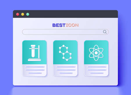 Set Molecule, Test tube flask on stand and Atom icon. Vector.
