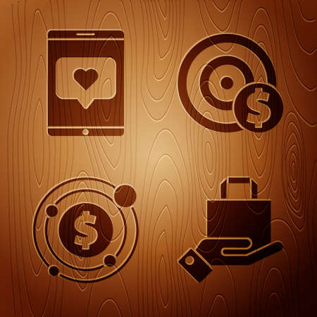Set Hand and paper shopping bag, Mobile phone and like with heart, Target with dollar symbol and Target with dollar symbol on wooden background. Vector.