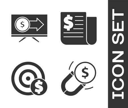 Set Magnet with money, Monitor with dollar, Target with dollar symbol and Financial news icon. Vector. Ilustrace