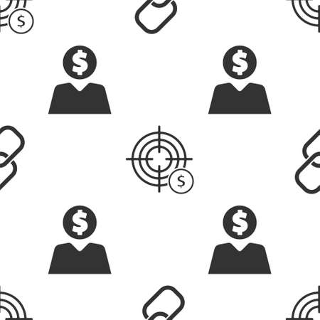 Set Chain link, Target with dollar symbol and Business man planning mind on seamless pattern. Vector.