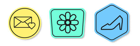Set line Envelope with 8 March, Flower and Woman shoe. Colored shapes. Vector.