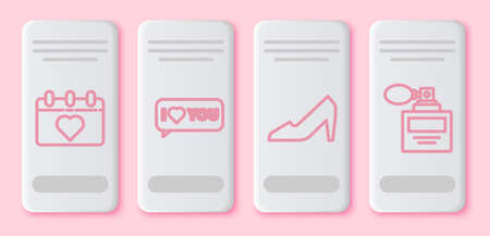 Set line Calendar with 8 March, Speech bubble with I love you, Woman shoe and Perfume. White rectangle button. Vector.