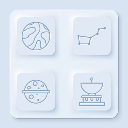 Set line Falling stars, Great Bear constellation, Planet Venus and Planet Saturn. White square button. Vector. Ilustracja