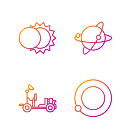 Set line Satellites orbiting the planet Earth, Mars exploration vehicle, Eclipse of the sun and Satellites orbiting the planet Earth. Gradient color icons. Vector.