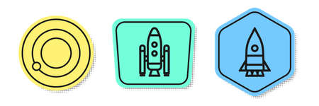 Set line Satellites orbiting the planet Earth, Space shuttle and rockets and Rocket ship. Colored shapes. Vector.