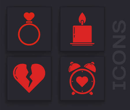 Set Heart in the center alarm clock, Wedding rings, Burning candle and Broken heart or divorce icon. Vector.