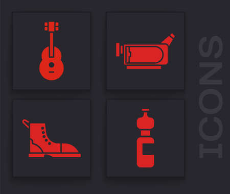Set Bottle of water, Guitar, Cinema camera and Hiking boot icon. Vector. Stock fotó - 150605709