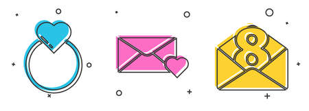 Set Wedding rings, Envelope with 8 March and Envelope with 8 March icon. Vector.