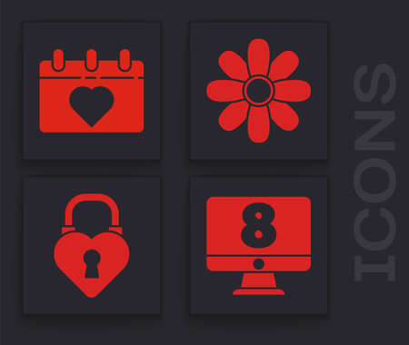 Set 8 March on monitore, Calendar with 8 March, Flower and Castle in the shape of a heart icon. Vector.