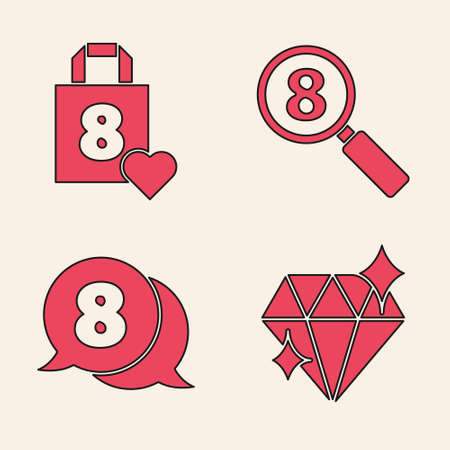 Set Diamond, Shopping bag with heart, Search 8 March and 8 March in speech bubble icon. Vector.