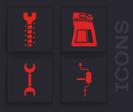 Set Hand drill, Metallic screw, Cement bag and Wrench spanner icon. Vector.