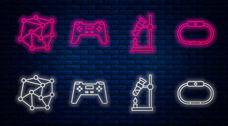 Set line Gamepad, Test tube flask on fire, Neural network and Smartwatch. Glowing neon icon on brick wall. Vector. Illusztráció