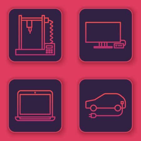 Set line 3D printer, Laptop, Smart Tv and Electric car. Blue square button. Vector. Vektoros illusztráció