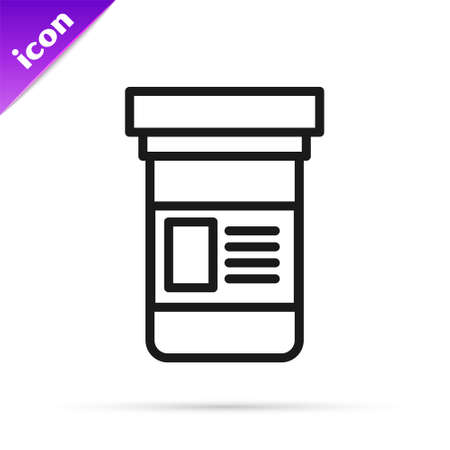 Black line Medicine bottle icon isolated on white background. Bottle pill sign. Pharmacy design. Vector Illustration.