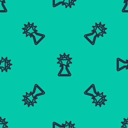 Blue line Test tube and flask icon isolated seamless pattern on green background. Chemical laboratory test. Laboratory glassware. Vector.