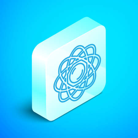 Isometric line Atom icon isolated on blue background. Symbol of science, education, nuclear physics, scientific research. Silver square button. Vector.