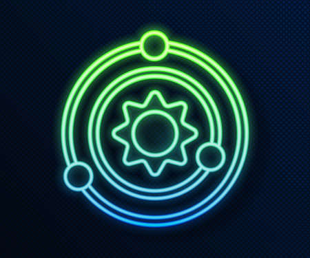 Glowing neon line Solar system icon isolated on blue background. The planets revolve around the star. Vector.