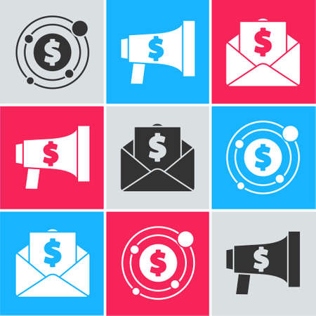 Set Target with dollar symbol, Megaphone and dollar and Envelope with coin dollar icon. Vector. Ilustrace