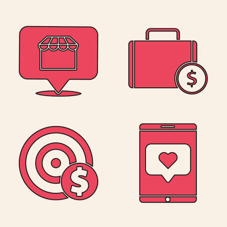 Set Mobile phone and like with heart, Online shopping concept, Briefcase and money and Target with dollar symbol icon. Vector.