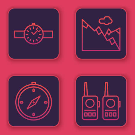 Set line Wrist watch, Compass, Mountains and Walkie talkie. Blue square button. Vector. Stock Illustratie