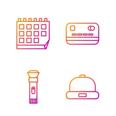 Set line Beanie hat, Flashlight, Calendar and Credit card. Gradient color icons. Vector.