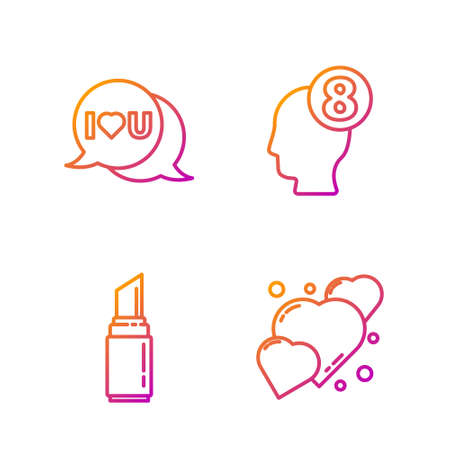 Set line Heart, Lipstick, Speech bubble with I love you and 8 March in human head. Gradient color icons. Vector.