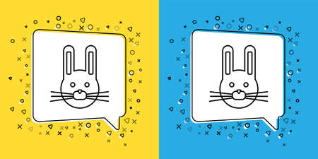 Set line Easter rabbit icon isolated on yellow and blue background. Easter Bunny. Vector Illustration.
