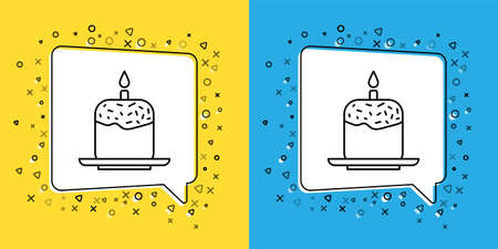 Set line Easter cake and candle icon isolated on yellow and blue background. Happy Easter. Vector Illustration.