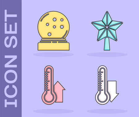 Set Meteorology thermometer measuring, Christmas snow globe with fallen snow, Meteorology thermometer measuring and Christmas star icon. Vector.