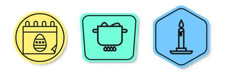 Set line Calendar with Easter egg, Egg in hot pot and Burning candle in candlestick. Colored shapes. Vector. Illustration