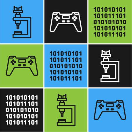 Set line Microscope, Binary code and Gamepad icon. Vector. Illusztráció