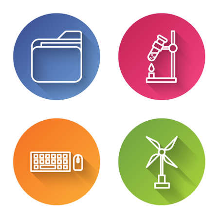 Set line Document folder, Test tube flask on fire, Keyboard and mouse and Wind turbine. Color circle button. Vector.