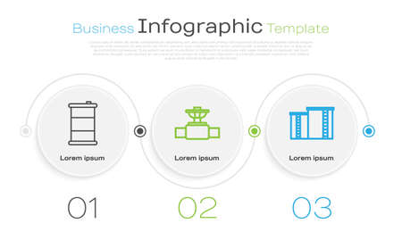 Set line Barrel oil, Industry pipe and valve and Oil industrial factory building. Business infographic template. Vector. Stok Fotoğraf - 150610235