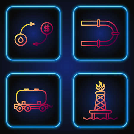 Set line Oil rig with fire, Oil railway cistern, Oil exchange and Industry pipe. Gradient color icons. Vector.